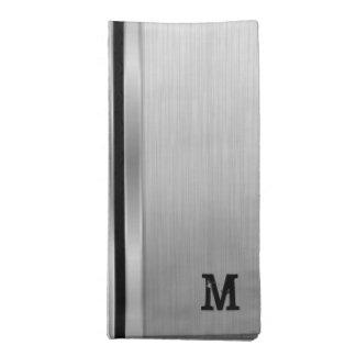 Grauer metallischer geometrischer Entwurf Stoffserviette