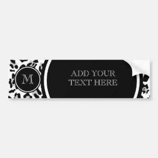 Grauer schwarzer Leopard-Tierdruck mit Monogramm Autoaufkleber