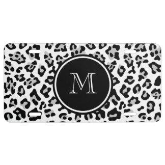 Grauer schwarzer Leopard-Tierdruck mit Monogramm US Nummernschild