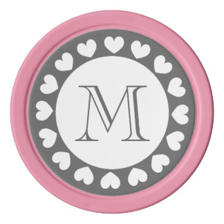 Grauer und rosa Hochzeits-Poker bricht | Poker Chip Set