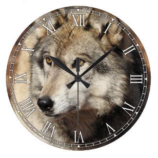 Grauer Wolf-dekorative Wanduhr