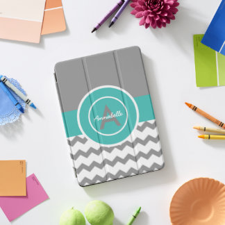 Graues aquamarines Zickzack iPad Pro Cover