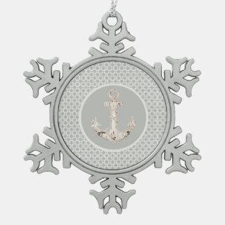 Graues geometrisches Muster-adretter Küstenanker Schneeflocken Zinn-Ornament