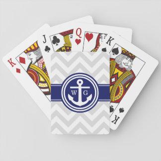 Graues Marine-Blau weißes Zickzack Anker-Monogramm Spielkarten