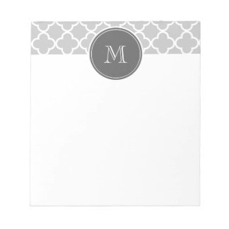 Graues Quatrefoil Muster, Holzkohlen-Monogramm Memo Notiz Pads