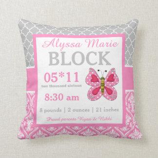 Graues rosa Schmetterlings-Baby-Mitteilungs-Kissen Zierkissen