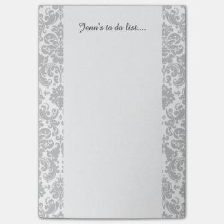 Graues und weißes elegantes Damast-Muster Post-it Klebezettel