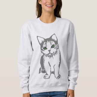 Graues Weiß-Katze mit Jade mustert das Sweatshirt