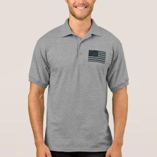 Grayscale-amerikanische Flagge Poloshirt