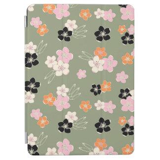 Green hawaiian orange black flowers exotic pattern iPad air hülle