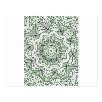 green leaves mandala postkarte
