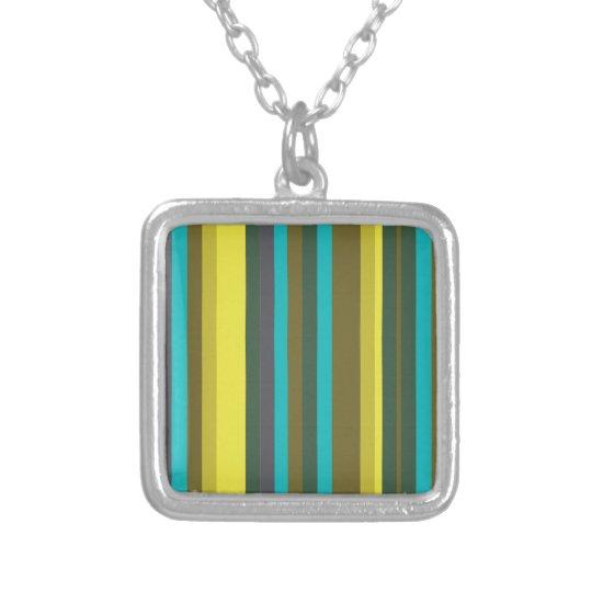 Green_stripes Halskette Mit Quadratischem Anhänger