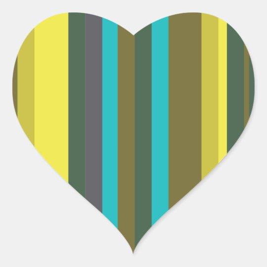 Green_stripes Herz-Aufkleber