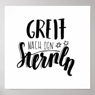 """""""Greif nach den Sternen"""" - handgeschiebener Spruch Poster"""