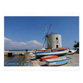 Griechenland, Korfu, alte Windmühle, Postkarte