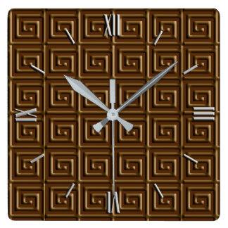 Griechischer Schlüsselentwurf - dunkle Schokolade Quadratische Wanduhr