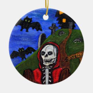 Grimmiges Sensenmann-Skelett schlägt Keramik Ornament