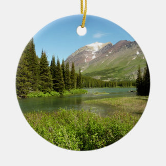 Grinnell Nebenfluss am Glacier Nationalpark Rundes Keramik Ornament