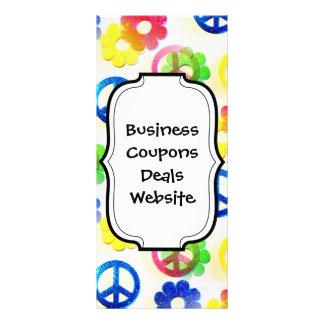 Groovy Hippie-Friedenszeichen-Blumen-Power-Schein Individuelle Werbe Karte