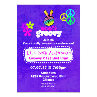 Groovy Hippie Thema Geburtstags Party Karte