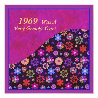 Groovy Retro PopArt Blumen-Power-60er-70er Individuelle Ankündigskarten