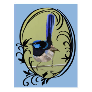 Großartiger blauer Zaunkönig-Australier-Vogel Postkarte