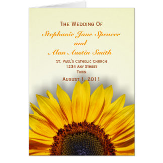 Großartiges Sonnenblume-Hochzeits-Programm Grußkarte