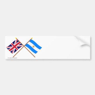 Großbritannien und Argentinien gekreuzte Flaggen Autoaufkleber