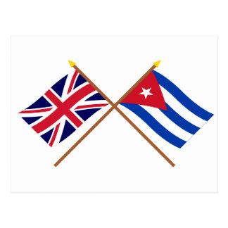 Großbritannien und Kuba gekreuzte Flaggen Postkarte