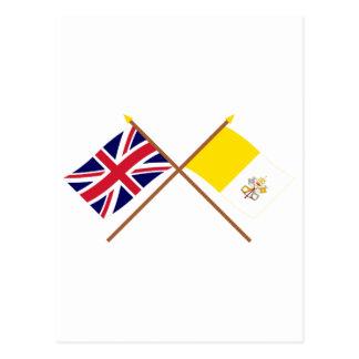 Großbritannien und Vatikanstadt gekreuzte Flaggen Postkarte