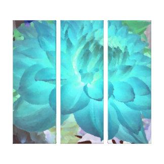 Große Aqua-Blau-Dahlie Gespannter Galeriedruck