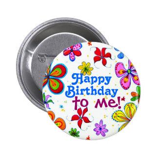 Große Blumen-alles Gute zum Geburtstag zu mir Runder Button 5,7 Cm