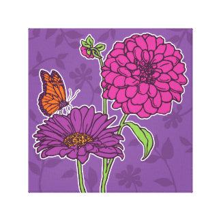 Große Dahlie und Gänseblümchen auf Lila Gespannter Galeriedruck