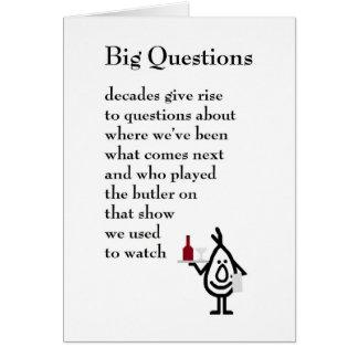 Große Fragen - ein lustiges siebzigstes Karte