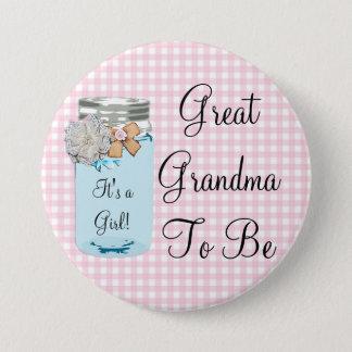 Große Großmutter, zum blaues Weckglas-rustikaler Runder Button 7,6 Cm