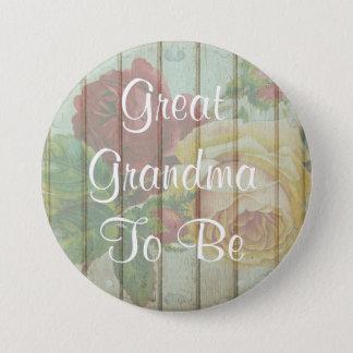 Große Großmutter, zum rustikaler Babyparty-Knopf Runder Button 7,6 Cm