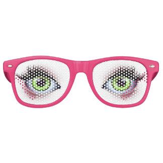 Große grüne Augen-Party-Gläser Retro Sonnenbrillen