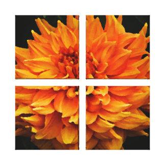 Große orange Dahlie Galerie Faltleinwand