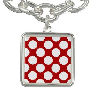Große Retro Punkte - Weiß und Rot Charm Armbänder