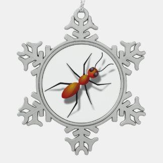 Große rote Ameise Schneeflocken Zinn-Ornament