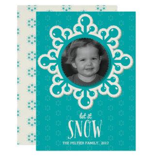 Große Schneeflocke-blaue Foto-Feiertags-Karte 12,7 X 17,8 Cm Einladungskarte