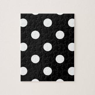 Große Tupfen - Creme auf Schwarzem Puzzle