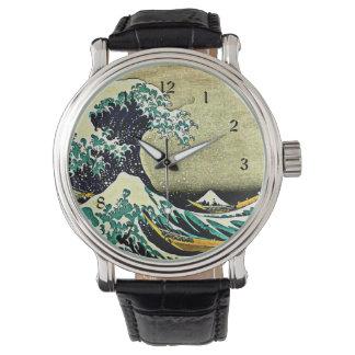 Große Welle weg von Kanagawa Handuhr