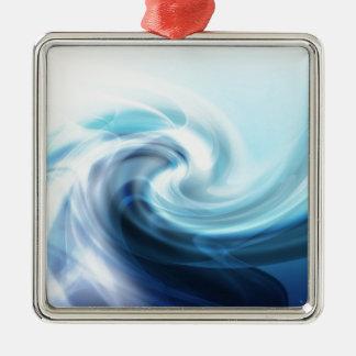 Große Wellen für das Surfen Quadratisches Silberfarbenes Ornament