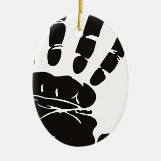Großer Handdruck (Palme und Finger) Ovales Keramik Ornament