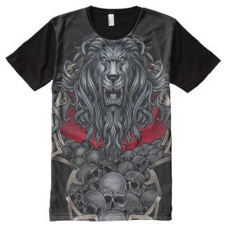 Großer Löwe und Schädel T-Shirt Mit Komplett Bedruckbarer Vorderseite