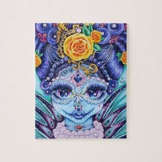 Großes Augenmädchen mit Rosen und Perlen Puzzle