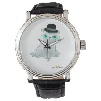 Großes britisches Kätzchen-Schwarz-Vintage lederne Armbanduhr