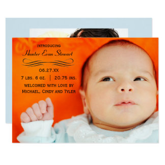 Großes Foto blühen - Mitteilung der Geburts-3x5 8,9 X 12,7 Cm Einladungskarte