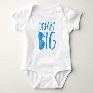 Großes, inspirierend Traumzitat, blaues Aquarell Baby Strampler